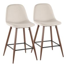 Pebble Mid-Century Modern Counter Stool in Walnut Metal and Beige Fabric - Set of 2 - Lumisource CS-PEB casual comfort to your counter with the LumiSource Pebble Counter Stool. A simplistic design is complimented by a steel frame, tapered legs, Modern Counter Stools, Kitchen Counter Stools, 24 Bar Stools, Counter Height Stools, Swivel Bar Stools, Bar Counter, Kitchen Dining, Upholstered Bar Stools, Dining Nook