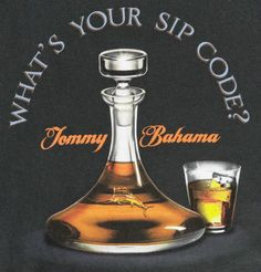 NWT Tommy Bahama Mens L Whats Your Sip Code Coal T-Shirt SS Cotton Crewneck New #TommyBahama #GraphicTee