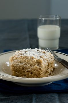 "The ""crumbs"" in ""crumbcake"" are a sweet buttery streusel and the cake features buttermilk and spices."