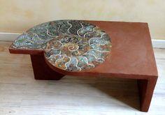 "Table ""tadelakt"" & Mosaïque en pâte de verre by Patricia Hourcq! I would love to own this!"