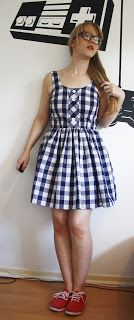KnitWitsOwls: Gingham Dress with Faux Button Placket