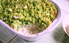This casserole has a layer of mashed potatoes, then a layer of cauliflower gravy, then a final layer of minced broccoli.