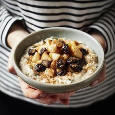 Bircher muesli topped with pears and sour cherries
