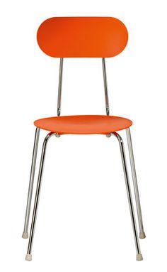 Chaise empilable Mariolina par Enzo Mari - Plastique & pieds métal Orange / Piètement chromé - Magis
