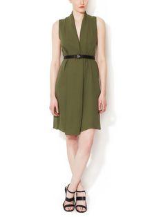 DEREK LAM - Silk V-Neck Dress with Belt