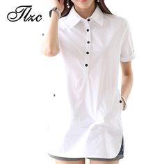 Fair price Popular Summer Style Blusa Feminina Lady Cotton Shirts Size S-3XL White Color Short Sleeve Women Long Length Blouse With Pocket just only $10.77 with free shipping worldwide  #womanblousesshirts Plese click on picture to see our special price for you