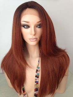 lace front wig dark rooted dark brown medium auburn copper red - Red Wigs For Halloween