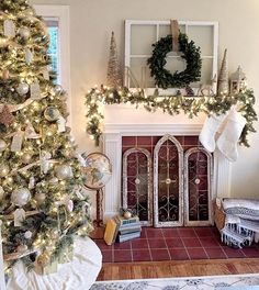 Aside from the Christmas decor, I like the window pane with a wreath for the mantle.