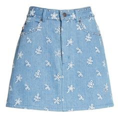 Women's Marc Jacobs Broderie Anglaise Denim Miniskirt (1.555 BRL) ❤ liked on Polyvore featuring skirts, mini skirts, bottoms, blue mini skirt, blue denim skirt, vintage denim skirt, vintage skirts and denim miniskirt
