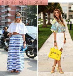 love the midriff top/skirt combo