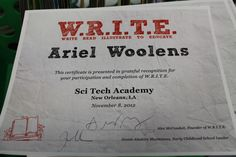 The certificate each kid received for becoming a young author. I'm proud of them.