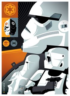 Version B - Retro Poster Illustration Design Storm Troopers by Tom Whalen Star Wars Film, Star Wars Poster, Star Wars Art, Tom Whalen, Pop Art, Ghostbusters, Andy Warhol, Stormtroopers, Gi Joe
