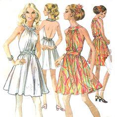 1960s Backless Halter Dress Pattern