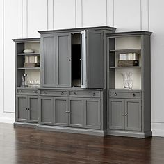Cameo Modular Media with Media Hutch, 2 Storage Bookcases and Left and Right Crown Sets
