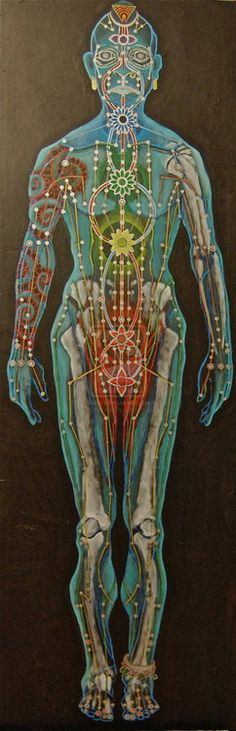 Beautiful depiction of one way of understanding where the chakras are in the body and meridian channels