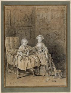 An 18th century engraving of two girls and their toys - a wooden horse, cards, balls, and a doll.