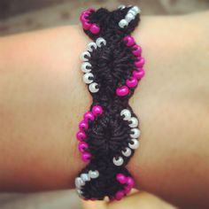 -Pink White and Black Crochet Beaded Bracelet by CrochetByMBK