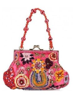 Beaded Embroidered Flower Evening Minaudiere