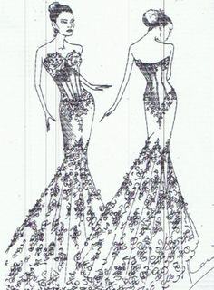 mermaid style wedding dresses drawing - Google Search