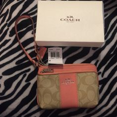 Authentic NWT leather Coach wristlet Perfect gift for Christmas! Brand new with tags Leather coach wristlet! Has 2 zippers & fits a phone as well! Great size, not too big & not too small! 100% authentic bought from actual coach store! & comes with box that is seen in the photo above! Coach Bags Clutches & Wristlets