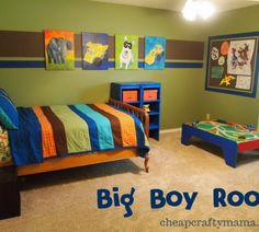 Cute Colorful Bedding Sets and Beautiful Wall Art with Blue Plastic Rack in Boys Bedroom Design Ideas