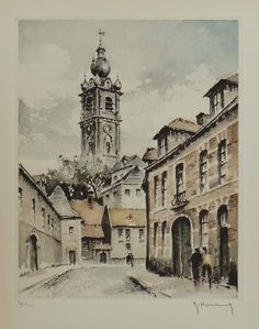 eau-forte couleur : Beffroi de Mons, HEBBELINCK Roger