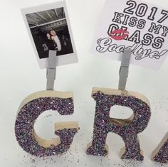 How to Make a Grad Letter Photo Holder Gift Idea darbysmart diy diyprojects . Graduation Party Planning, Graduation Celebration, Graduation Party Decor, Graduation Photos, Grad Parties, College Graduation Parties, Graduation Ideas, Grad Party Decorations, Graduation Open Houses