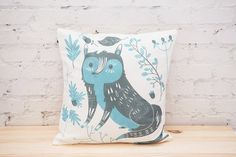 This Bondi Blue woodland fox hand sewn pillow cover looks cute on the sofa or thrown on your bed.  Perfect for a woodland nursery !  Illustration by