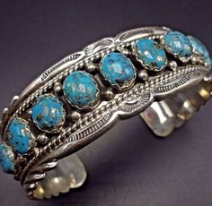 Signed NAVAJO Sterling Silver & MORENCI TURQUOISE Cuff BRACELET Tom Ahasteen 65g #Cuff #sterlingsilverbrooches