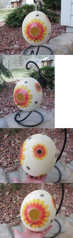 Holiday 160651: Hand Decorated Ostrich Egg Painted Birdhouse Sunflowers Gift Bumble Bees -> BUY IT NOW ONLY: $74.99 on eBay! Sunflower Garden, Sunflower Gifts, Bird Houses Painted, Bumble Bees, Birdhouse, Sunflowers, Egg, Holiday, Decor