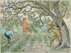 View Lisas framtidsplaner By Elsa Beskow; Watercolour and ink, partly wax paper; Access more artwork lots and estimated & realized auction prices on MutualArt. Vintage Book Art, Vintage Cards, Vintage World Maps, Elsa Beskow, Cool Art, Awesome Art, Illustration Art, Watercolor, John Bauer