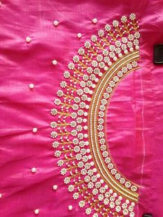 Sree's blouse designs Kids Blouse Designs, Simple Blouse Designs, Blouse Neck Designs, Peacock Blouse Designs, Embroidery Neck Designs, Embroidery Works, Simple Embroidery, Zardosi Embroidery, Maggam Work Designs