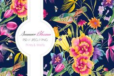 Watercolor Summer Blossoms by TSTUDIO on @creativemarket