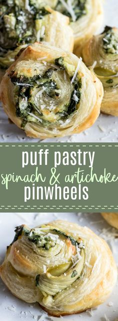 Puff Pastry Spinach and Artichoke Pinwheels. This easy to put together appetizer is perfect for any party or just as a snack. Loaded with fresh spinach, artichoke, and lots of cheese! #snack #appetizer #spinachartichoke #pinwheels