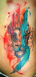 POWER DRAGON TATTOO: Leão Aquarela