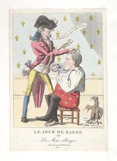 August 1815:Bodleian Libraries, Le jour de barbe ou- La mine allongée.French political cartoon; References: De Vinck, No. 9599.