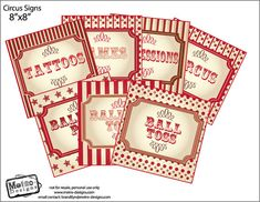 Instant Download  30qty Circus/Carnival Signs by MetroEvents, $5.98