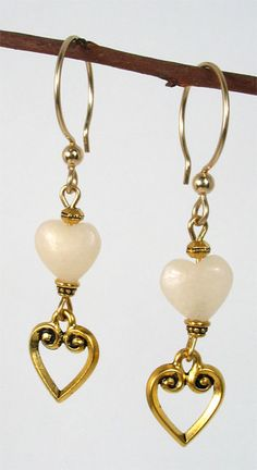 Two-Heart Earrings featuring TierraCast Heart clasp ring, Faceted spacer, and 4mm Beaded bead cap.