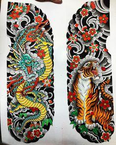 Japanese Leg Tattoo, Japanese Tattoos For Men, Japanese Tattoo Symbols, Japanese Tattoo Designs, Japanese Sleeve Tattoos, Chest And Back Tattoo, Chest Tattoo, Black Art Tattoo, Cute Monsters Drawings