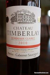 Chateau Timberlay Bordeaux Clairet 2010 - Pure Fruit. $15, http://www.reversewinesnob.com/2012/08/chateau-timberlay-bordeaux-clairet-2010.html