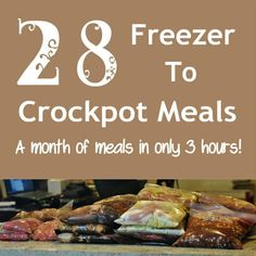 28 freezer to crockpot meals in 3 hours. A month of freezer to crockpot meals Slow Cooker Freezer Meals, Crock Pot Freezer, Crock Pot Slow Cooker, Freezer Cooking, Slow Cooker Recipes, Crockpot Recipes, Cooking Recipes, Freezer Recipes, Bulk Cooking