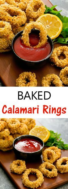 Baked Calamari Rings. A healthy appetizer or side dish. Squid rings are coated with panko bread crumbs and baked until crunchy.