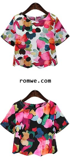 Round Neck Floral Crop Blouse