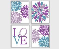 Purple Teal Baby Nursery Wall Art Flower Bursts Dahlia Blooms LOVE Nursery Wall Art Little Girls Room Decor Custom Colors 4 PRINT SET