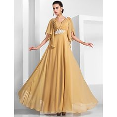 TS+Couture®+Formal+Evening+/+Military+Ball+Dress+-+Elegant+Plus+Size+/+Petite+A-line+/+Princess+V-neck+Floor-length+Chiffon+withAppliques+/+Beading++–+AUD+$+149.42