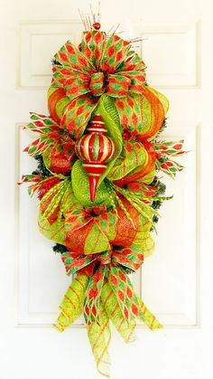 Christmas Deco Mesh Swag Wreath Teardrop by PataylaFloralDesigns