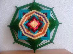 mandala tejido con lana 30 cm