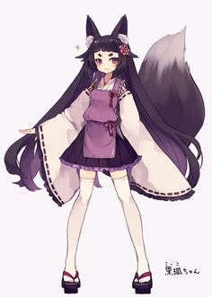 1girl :3 animal_ears bangs black_hair blunt_bangs eyebrows fox_ears fox_tail geta hair_ornament haruka_(reborn) japanese_clothes long_hair looking_at_viewer original skirt solo tail tengu-geta thigh-highs very_long_hair violet_eyes white_legwear zettai_ryouiki