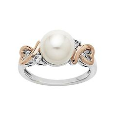 Freshwater Pearl & White Sapphire Heart Ring - jcpenney