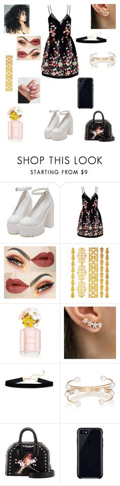 """""""Flower Child Glam 🌺"""" by apollar2 ❤ liked on Polyvore featuring The 2nd Skin Co., Marc Jacobs, Kenneth Jay Lane, STELLA McCARTNEY and Belkin"""